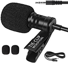 InnoGear Lapel Microphone with 6.5 Feet Extension Cable and 4 to 3 Pin Adapter 3.5mm Clip-on Omnidirectional Lavalier Mic for iPhone Android Smartphone