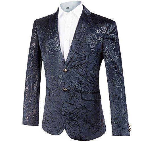 GOMY Slim Fit Heren Kleurrijke Sakko Patroon Casual Blazer Jas Bruiloft Party