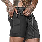 Ultra Dry Men's 2-in-1 Running Shorts Workout Training Short with Inner Compression Short and Zip Pocket - Black - X-Large