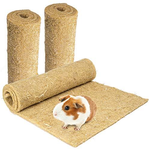 Nagerteppich aus 100% Hanf, 100 x 40cm, 5mm dick, 3er Pack, Hanfteppich für alle Arten Kleintiere, Hanfmatte Nagermatte Nager-Teppich