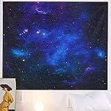 Alittle Tapiz que brilla en la oscuridad Constelación Patrón de espacio negro Tapiz Luna Estrella Colgante de pared Tapiz de arte psicodélico Decoraciones para el hogar para apartamentos Sala de e