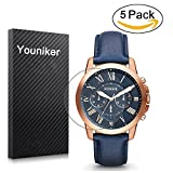 Youniker Lot de 5 pour homme Fossil Fs4835 protection d'écran, film de protection Foils pour Fossil Fs4835 Grant chronographe montre Crystal Clear HD, anti-rayure, anti-traces de doigts, Bubble Gratuit film