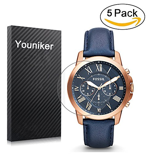 Youniker 5 Pack Fossil FS4835 Screen Protector, Fossiele Screen Protector Foils voor Fossil mannen FS4835 Grant Chronograaf Horloge Crystal Clear HD, Anti-Scratch, Anti-Vingerafdruk, Bubble Gratis Film