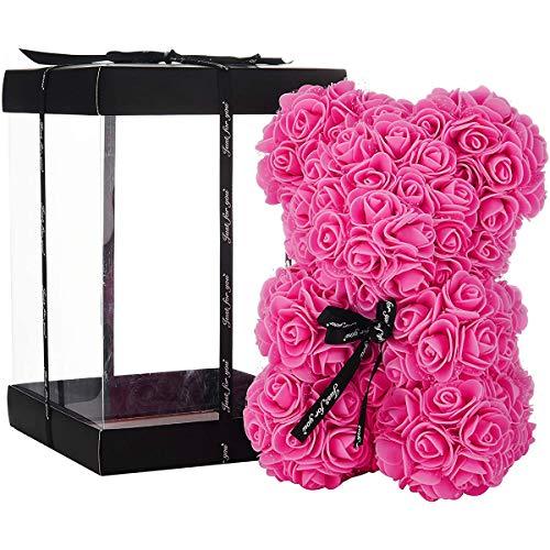 ZHKXBG Oso de Flor Rosa, Regalo para el día de la Madre, día de San Valentín, Aniversario y duchas Nupciales, Caja de Regalo Transparente incluida,C