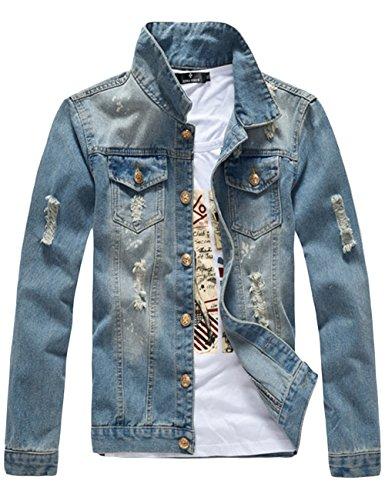 sandbank Men's Classic Button Slim Fit Ripped Washed Denim Jacket Jean Coat (Blue, Medium)