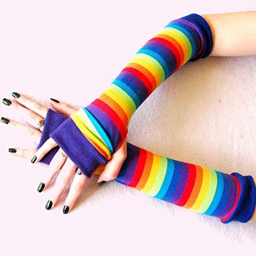 Arm Warmers Sleeves Kids Toddler Pride Rainbow Stripes Gloves