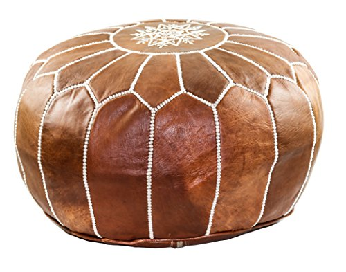 GRAN Handmade Leather Moroccan Pouf Footstool Ottoman | Brown Genuine Leather with Hand Embroidered...