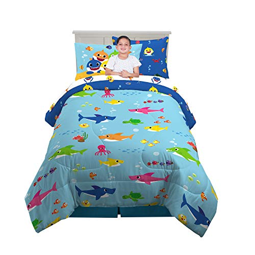 Franco Kids Bedding Super Soft Comforter and Sheet Set with Bonus Sham, 5 Piece Twin Size, Baby Shark