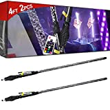 BeltandRoad ATV Whip Light - 2pc 4ft Spiral LED Whip Lights w/Flag [21 Modes] [20 Colors] [Wireless Remote] [Weatherproof] Lighted Antenna Whips - Accessories for ATV Polaris RZR 4 Wheeler