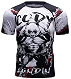 Red Plume Men's Sport Printing Tops Short Sleeve Tee Compression T Shirts Outdoor Base Layers (Style e, M)