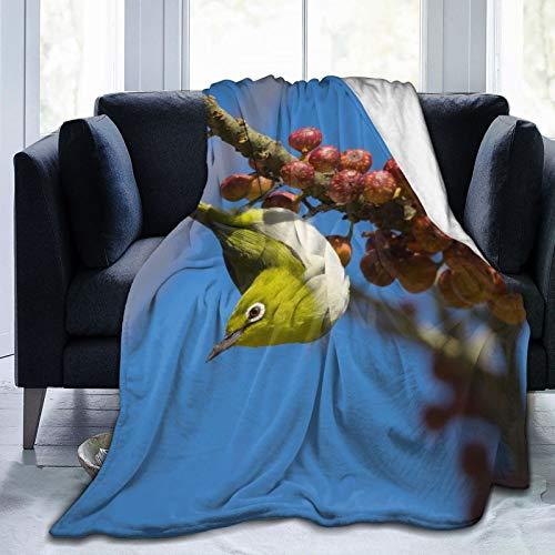 Cap pillow Fleecedecke 127 x 152,4 cm – Japanische weiße Äugige Vögel Ast Beeren Zuhause Flanell Fleece weich warm Plüsch Überwurf Decke für Bett Couch Sofa Büro Camping