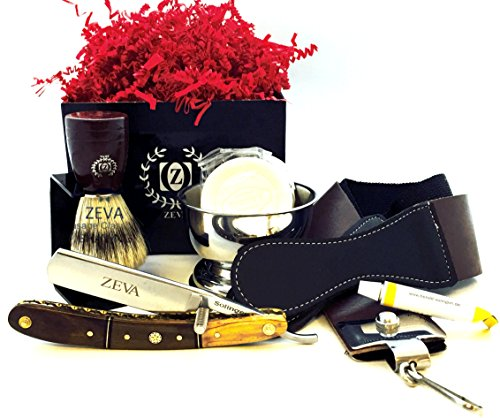 ZEVA Men's Best Wooden Straight Razor Shaving Set Kit in Gift Box, Wet Shave Cut Throat Razor, Mission Style Razor Holder, Pure Bristle Shaving Brush, Wooden Shaving Mug