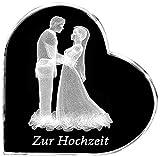 Kaltner Präsente–Regalo Idea–Corazón de Cristal: Cristal con 3d de Laser de Grabado Diseño de Pareja de novia para boda