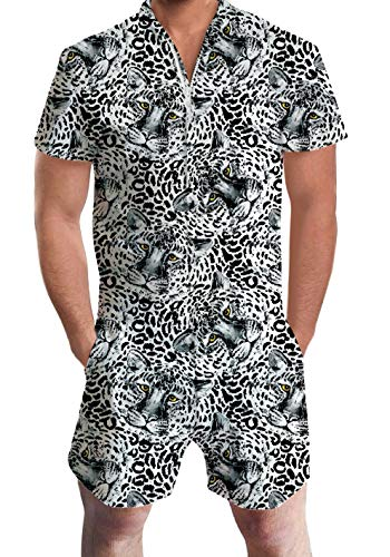 UNIFACO Men Romper Summer Suit Tiger Fun Male Onesie White Jumpsuit Pants Short Sleeve One Piece