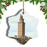 Weekino España Hercules Tower La Coruna Decoración de Navidad Árbol de Navidad Adorno Colgante Ciudad Viaje Porcelana Colección de Recuerdos 3 Pulgadas