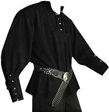Mens Halloween Medieval Pirate Renaissance Shirts Lace Up Viking Costume Mercenary Scottish T Shirts Jacobite Ghillie Tops