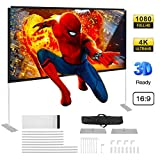 Powerextra Projector Screen with Stand, 100 inch 16:9 HD 4K Rear Front Foldable