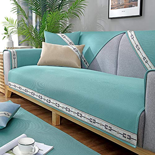 Homeen Protector de sofá seccional, 2/3/4 plazas, funda de sofá de verano, funda de sofá universal moderna, verde 90 x 90 cm