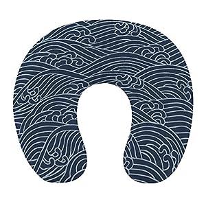CIKYOWAY Almohada Viaje,Aranami de patrón Tradicional japonés,Espuma de Memoria cojín de Cuello,Almohadas de Acampada,Soporte de Cuello para Viaje Coche