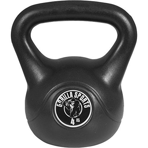 Gorilla Sports Kettlebells Plastique Noires de 2 à 20 KG + Lot de 11 Kettlebells haltères Russes