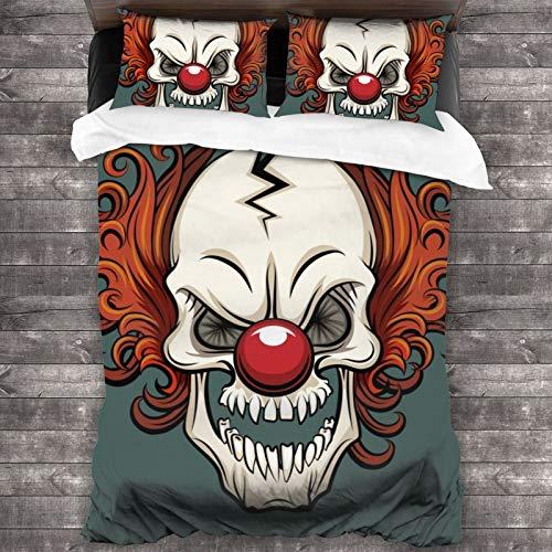 "LUOWAN Duvet Cover Set,Clown Spooky Evil Joker Card Circus Vector Human Skeleton People Halloween Cracked Fear Human Face,Decorative 3 Piece Bedding Set with 2 Pillow Shams,86""70"""