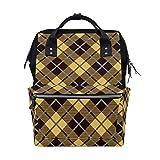 ALINLO - Bolsa de pañales para momia, diseño vintage, color amarillo y negro, multifunción, para viajes