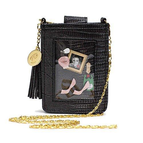 Clippy Londen kleine, zwarte telefoonhoes, grappig en stijlvol, in krokodillenleder-look, met gouden ketting en transparante kunststof hoes voor 1 foto