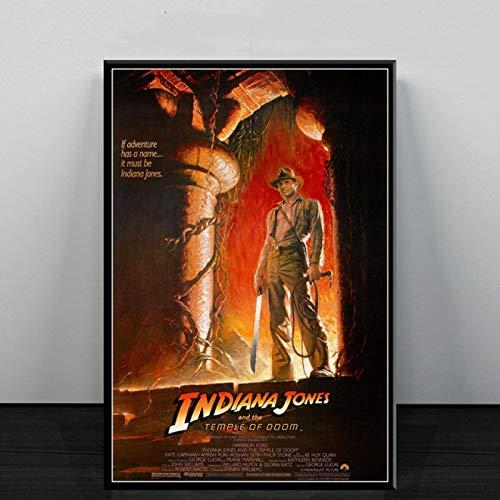 qianyuhe Imágenes de Arte de Pared, Carteles e Impresiones, póster de la Serie de películas clásicas de Indiana Jones para la decoración del hogar de la habitación, 60x90 cm (24x36 Pulgadas