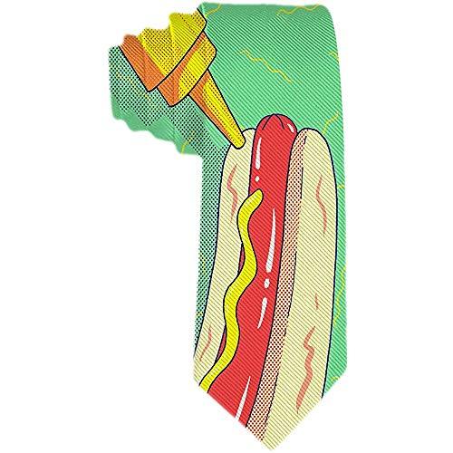Salsa da uomo gialla con cravatta verde hot dog cravatta in poliestere cravatta jacquard intrecciata regalo per uomo