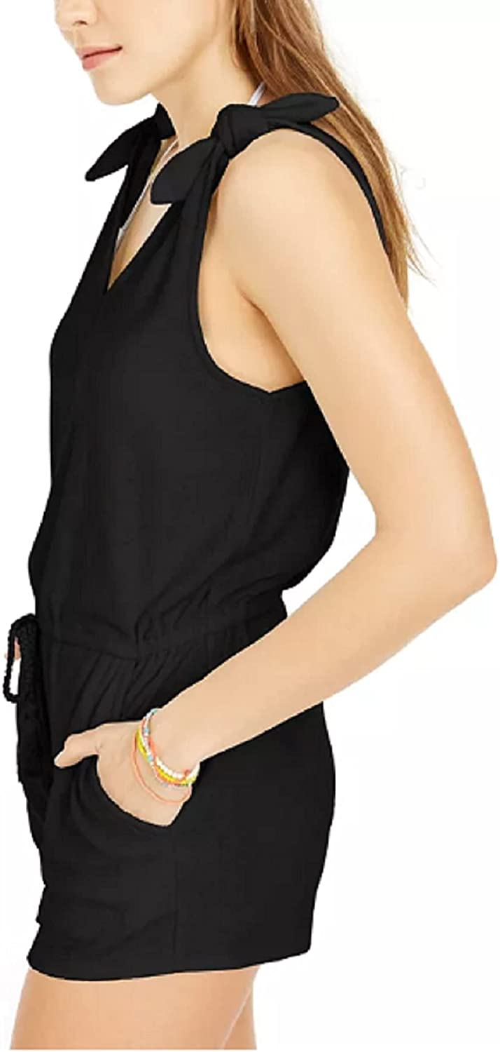 Miken Juniors' Tie-Shoulder Drawstring Terry Romper Swimsuit Cover Up Size Small Black