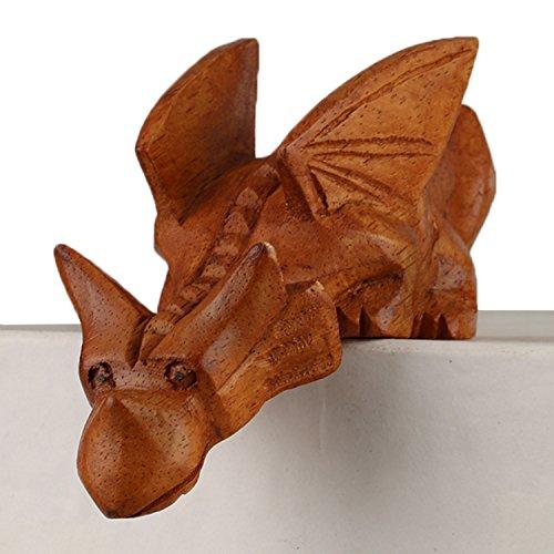 ART-CRAFT Holz-Drachen Schnitzerei aus Suar Holz 14cm