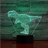 Lámpara de Dinosaurio 3D Luz Nocturna Led Noche T Rex Velociraptor para niño (Tiranosaurio Rex B)