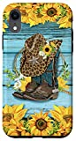 iPhone XR Cute Sunflowers Cowboy Boots And Hat Western Cowgirl Rodeo Case