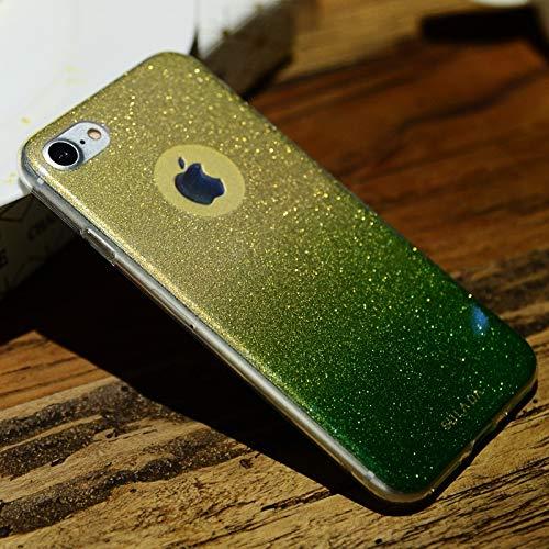 KIOKIOIPO-N Mode Stoß- TPU + Blau-Licht-Blitz-Puder-Kasten for iPhone 8 & 7 (Color : Grün)