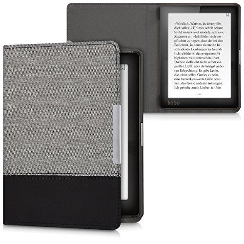 kwmobile Cover Compatibile con Kobo Aura Edition 1 - Custodia a Libro in Tela e Pelle PU - Flip Case per eReader