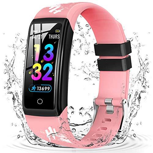 DUODUOGO Hi5 Reloj Inteligente Mujer y Hombre, Reloj Smartwatch Impermeable IP68 Pulsera Actividad Deportivo con Monitor de Sueño Pulsómetro Reloj Compatible con Android y iOS (Rosado)