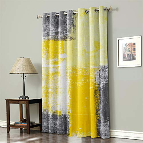 "Blackout Curtain 84 Inches Long, Lighting Block Thermal Insulated Curtain for Baby Living Room Nursery Girls Bedroom Office, Yellow and Gray with Grommet Top, 52""x 84"" Painting Street Art Grunge Plaid"