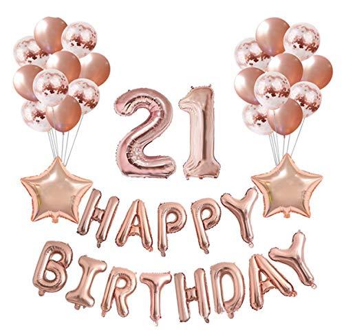 Crazy-M Juego Deco de cumpleaños Número 21 Globo Rosegold Girl, Fiesta de cumpleaños Deco