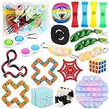 Ysimee Set Fidget Toys 20 Piezas con Caja, Incluyen Bubble Game, Cadena de riel, Bandas de Resistencia, Tangle Fidget e interesantes Juguetes pequeños para aliviar la ansiedad para niños y Adultos