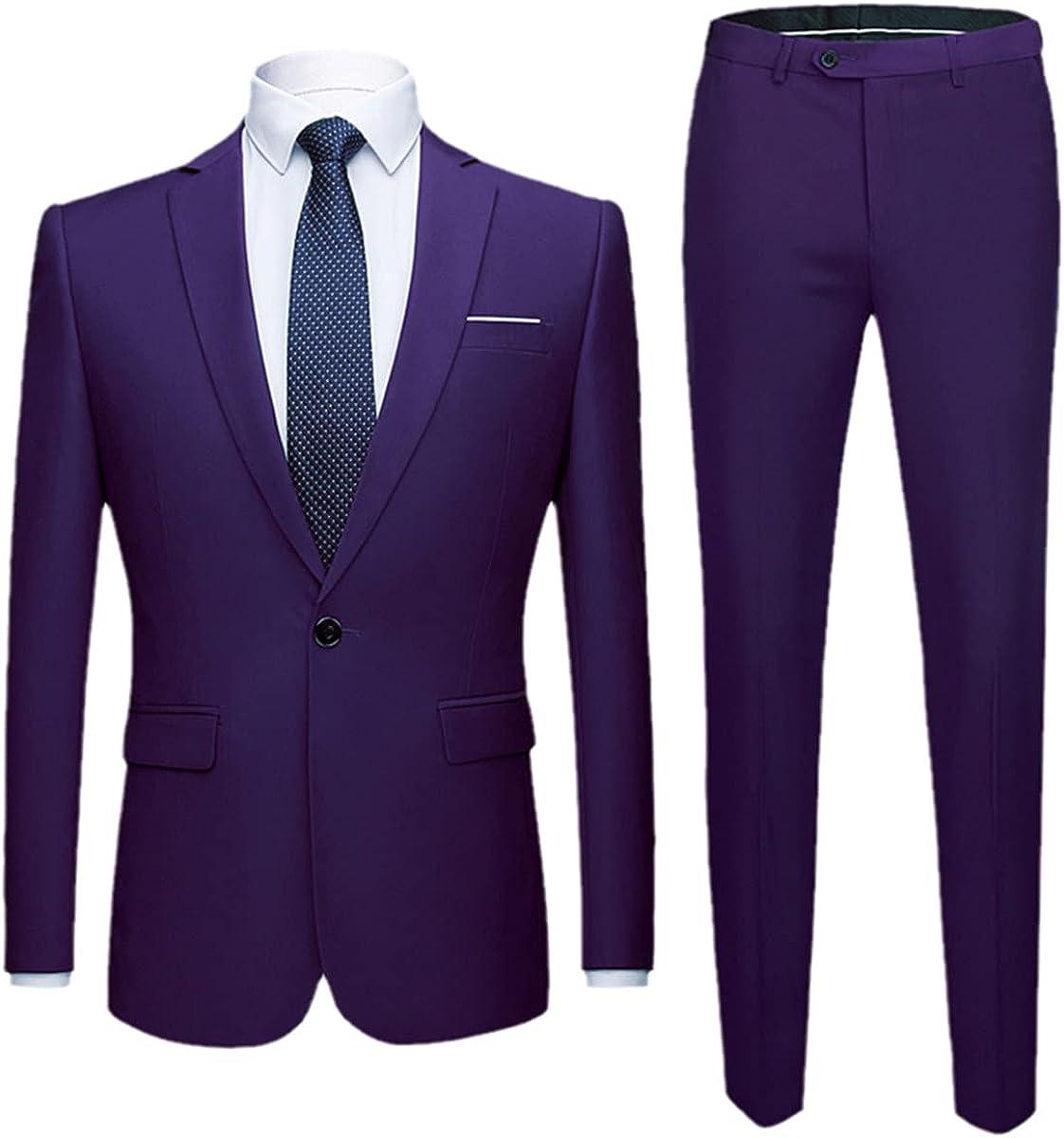 CACLSL Men's Western Slim Fit Business Uniform Office Suit Wedding Groom Party 2-Piece Jacket Pants