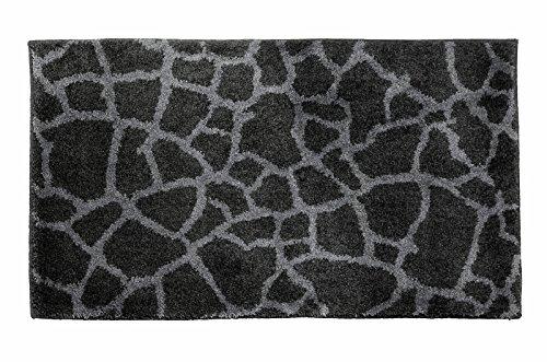 SCHÖNER WOHNEN-Kollektion, Mauritius, Badteppich, Badematte, Badvorleger, Design Steine - anthrazit, Oeko-Tex 100 zertifiziert, 60 x 100 cm