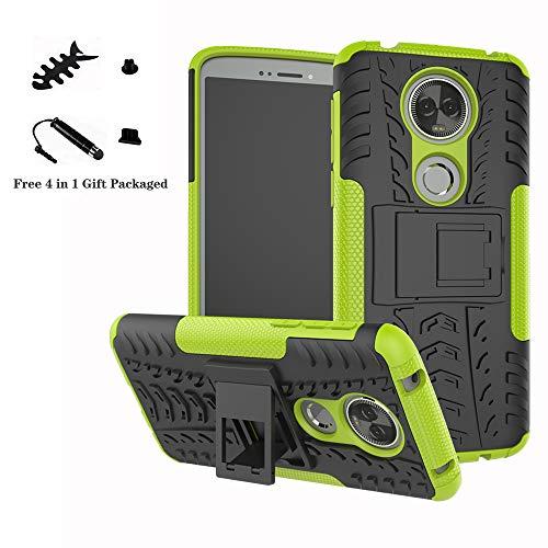 LiuShan Moto E5 Plus Hülle, Dual Layer Hybrid Handyhülle Drop Resistance Handys Schutz Hülle mit Ständer für Motorola Moto E5 Plus Smartphone(mit 4in1 Geschenk verpackt),Grüne