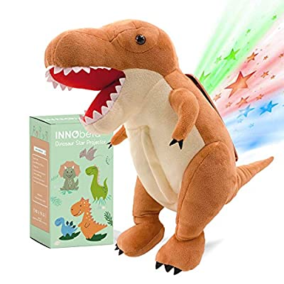 "InnoBeta Dinosaur Star Projector Night Light, 14"" T-Rex Stuffed Animal Fluffy Plush, Birthday Gifts for Boys, Girls, Toddlers, Kids, Dinosaur Nursery Room Decor, Baby Sleep Soother"
