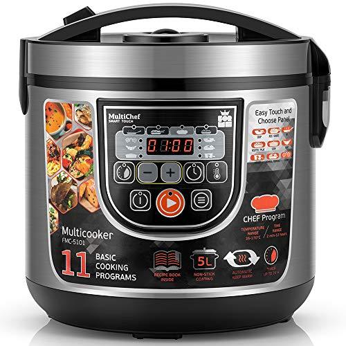 Multikocher FORME Elektrischer Reiskocher mit 11 Programmen 5L 860W LED panel Zeitsteuerung Warmhaltefunktion Multicooker