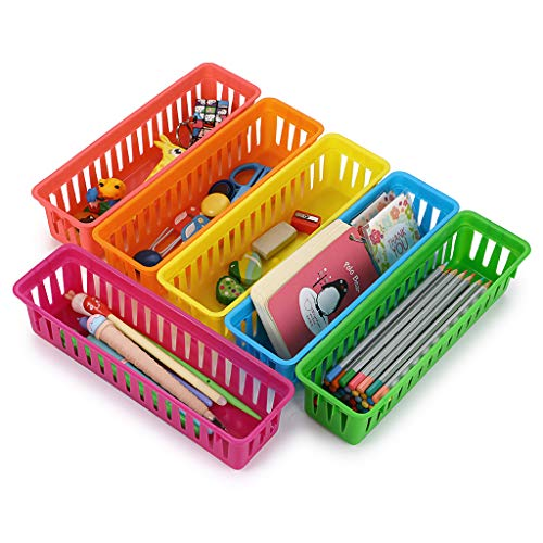 BTSKY 12 Pack Classroom Pencil Basket Trays, Colorful Pencil Organizer Crayon Basket Long Office Supply Baskets Organization Trays
