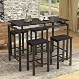 5 Piece Dining Table Set Modern Style Wooden Kitchen Table and 4 Chairs with Metal Legs (Espresso)
