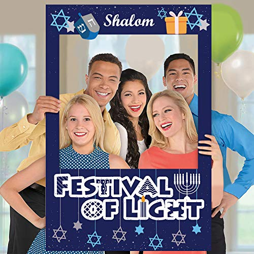 Huray Rayho Hanukkah & Chanukah Photo Booth Props Frame Chanukah Party Selfie Picture Frame Group Shot Props with Double-Side Printing Perfect for Hanukkah Party Family Dinner