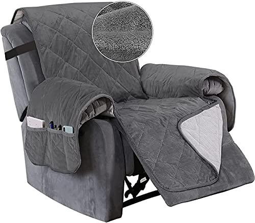HYLDM Funda para sillón reclinable Funda de Terciopelo para Silla reclinable, Funda para Mascotas para sillón reclinable con 2 & # 34;Funda de sofá Lavable Reversible con Correas elásti
