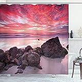 ABAKUHAUS Landschaft Duschvorhang, Australian Seascape Dämmerung, Personenspezifisch Druck inkl.12 Haken Farbfest Dekorative mit Klaren Farben, 175 x 200 cm, Multicolor