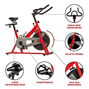 Sunny Health & Fitness Spin Bike Indoor Cycling Exercise Spinning Bike
